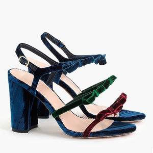 9289c90203e J. CREW Stella bow heels in colorblocked velvet